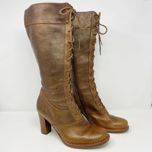 Frye Villager Lace Up Tall Boot Distressed Leather
